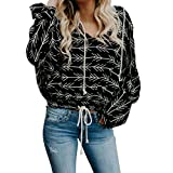 Padaleks Women's Casual New Print Long Sleeve Hooded Pullover Hoodie Sweatshirt Tops Blouse