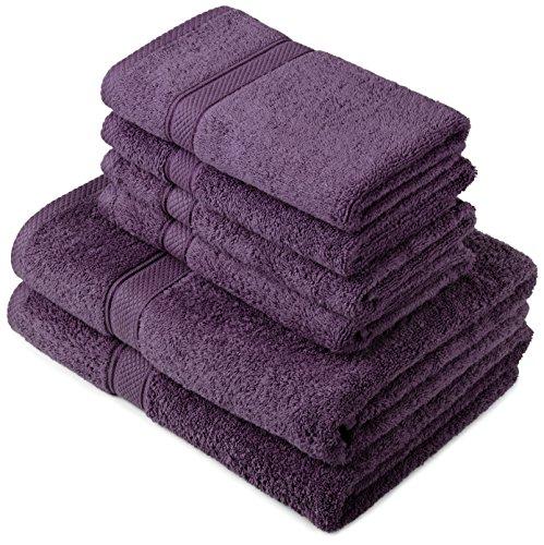 Pinzon by Amazon Lot deserviettes, 2 draps de bain et 4serviettes de bain en coton Prune