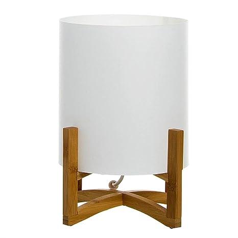 DCASA Lámpara para Mesita de Noche Pantalla Blanca Estilo Nórdico de Madera Natural Blanco (28x21cm) (287003)