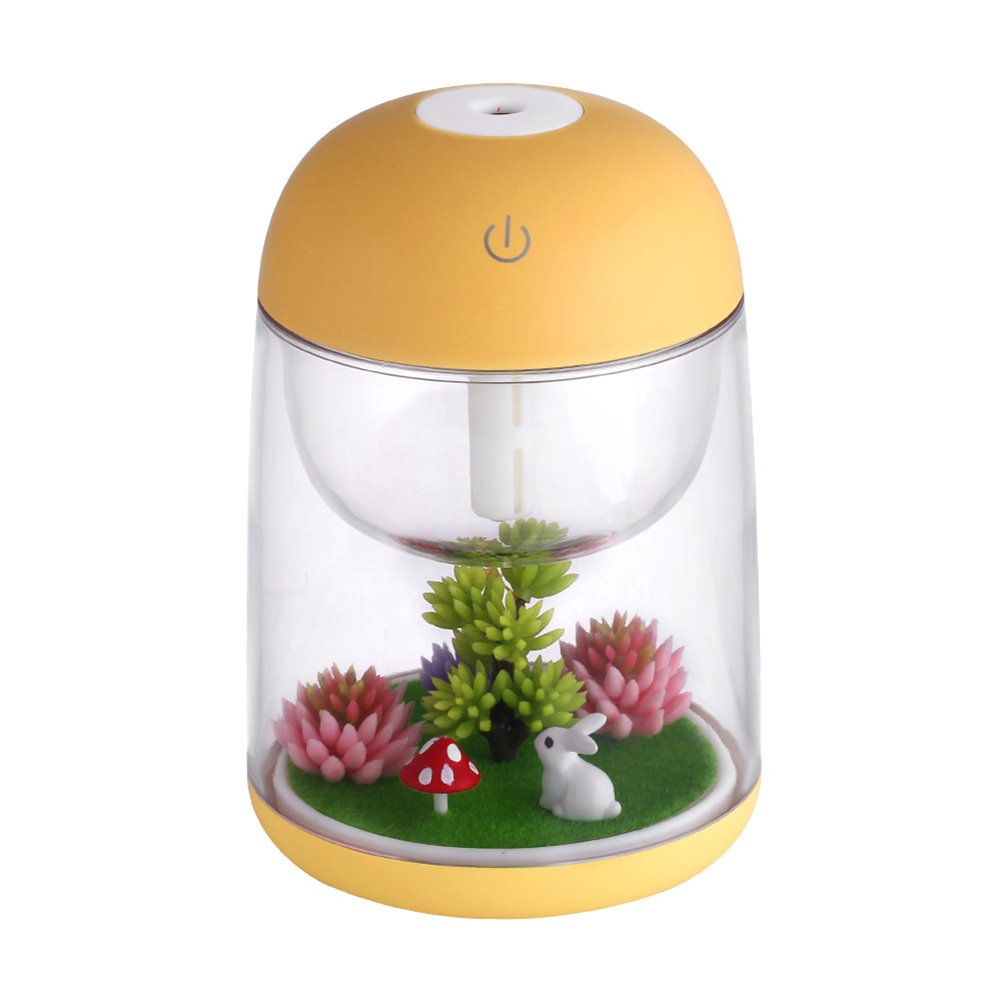Yunhigh USB Humidifier, Portable Mini USB Humidifier Oil Diffuser Colour Changing Warm Mist Quiet Air Vaporizer Animal Desktop Night Light for Travel Desk Bedroom Office Car Kids - Yellow