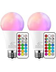 iLC Gekleurde lamp LED RGBW Lamp Edison Dimbare Gekleurde Gloeilamp Lamp 10W E27 RGB LED Lampen - Dual Memory - 12 kleuren - Draadloze Afstandsbediening inbegrepen (Pack van 2)