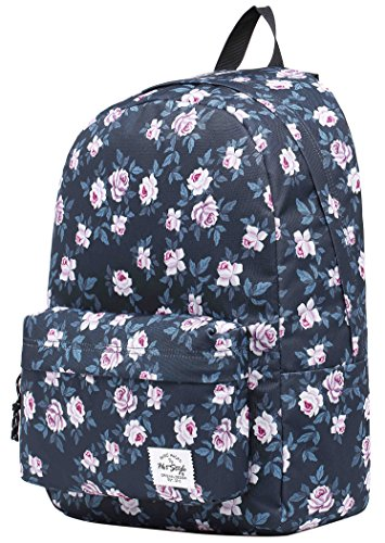 SIMPLAY Classic School Backpack Bookbag | 44x30x12.5cm | Trendy Pattern | Roses