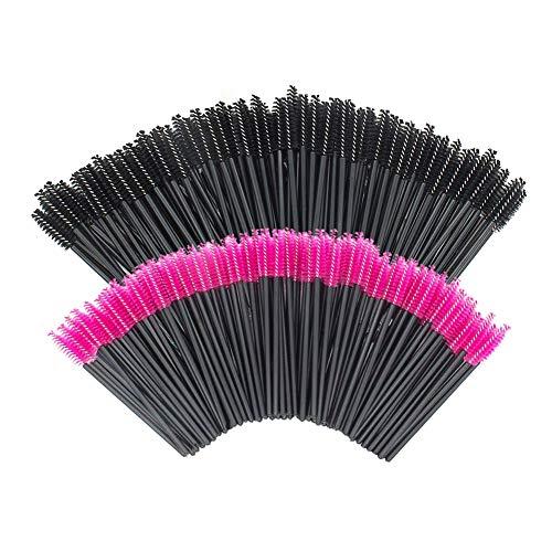GoWorth 200 PCS Disposable Eyelash Mascara Brushes Makeup Brush Wands Applicator Makeup Kits(Rose Red & Black)…