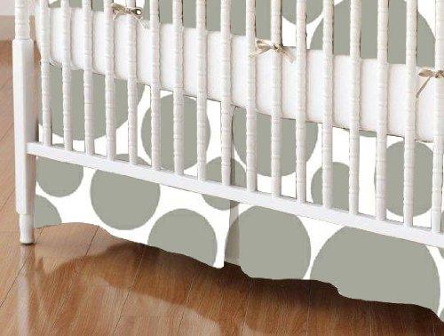SheetWorld - Crib Skirt (28 x 52) - Grey On White Dots - Made In USA