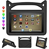 ThreeJ Case for All-New Amazon Fire HD 8 Tablet (7th Gen, 2017 Release), Light Weight Shock Proof Portable Handle Standing Protective Cover [Kids Friendly] for Fire HD 8 Tablet (Fire HD 8, Black)