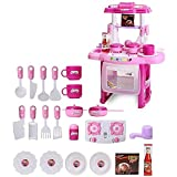 Kids Children Babies Kitchen Cooking Toy Play Set with Light and Sound Educational Learning Toy Pink