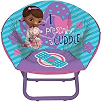 Doc Mcstuffins Mini Saucer Chair Blue Toddler Kids Seat Portable Character Comfortable Seating Saucer Shape Sturdy Metal Frame Polyester Cushioned Seat Playroom Easy Storage Bedroom