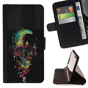 BullDog Case - FOR/Samsung Galaxy S6 EDGE / - / SKULL COLORFUL BLACK PAINT HEART PINK /- Monedero de cuero de la PU Llevar cubierta de la caja con el ID Credit Card Slots Flip funda de cuer