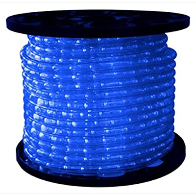 Queens of Christmas C-ROPE-LED-BL-1-10 Spool of LED Rope Light, 150', Blue