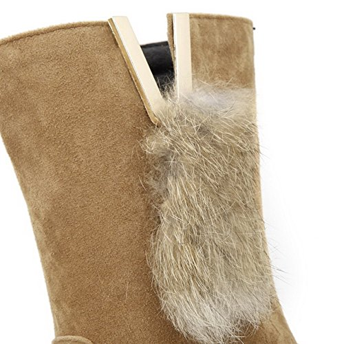 AllhqFashion Womens Kitten-Heels Solid Round Closed Toe Frosted Pull-on Boots Apricot 0ghWmN