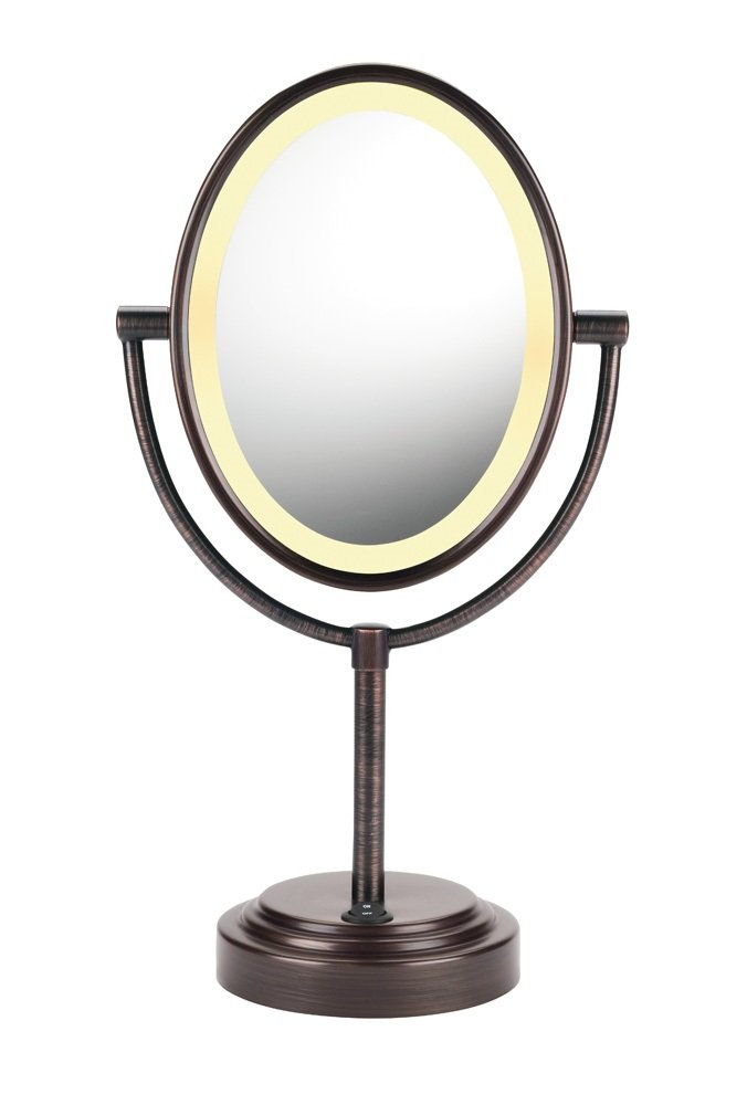 Conair Double-Sided Lighted Makeup Mirror - Lighted Vanity Makeup Mirror; 1x/7x magnification; Oiled Bronze Finish by Conair