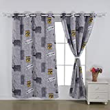 Cheap Deconovo Grommet Top New York Digital Print Thermal Insulated Bedroom Window Blackout Curtains, 52×84 Inch, Grey and Yellow