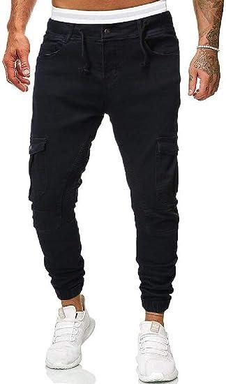 WAWAYA Men's Multi Pockets Classic Jogger Trousers Drawstring Elastic Waist Cargo Denim Pants Jeans
