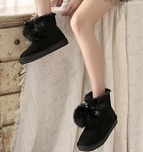 Piel Algodón De Zapatos Terciopelo Mujer Negro Botas Impermeables Rosado Calzado Zorro Estudiante Antideslizantes Nuevo Invierno Nieve Bolas Más Para Color Gruesos Cálido A00xwZq