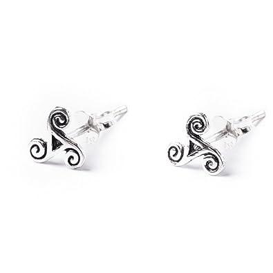 DTPSilver - 925 Sterling Silver Studs Earrings - Celtic Triskele XRr15