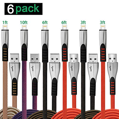 Phone Charger Cable 6 Pack Multipack (1/3/3/6/6/10 FT),Charging Cords, High Speed Fast IOS Lightnin Lighting Cable Cords Set, Unbreakable Nylon Syncing Cords For Phone XS Max/X/8/7/Plus/6S/6 Pad,Bbfly
