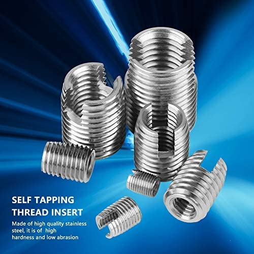 Self Tapping Thread Insert,Acogedor 50Pcs Stainless Steel Inner Thread Self Tapping Thread Inserts Set Thread Reinforce Repair Tool