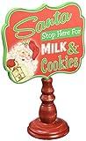 "Kurt Adler 9"" Wooden Santa Milk and Cookies Sign"