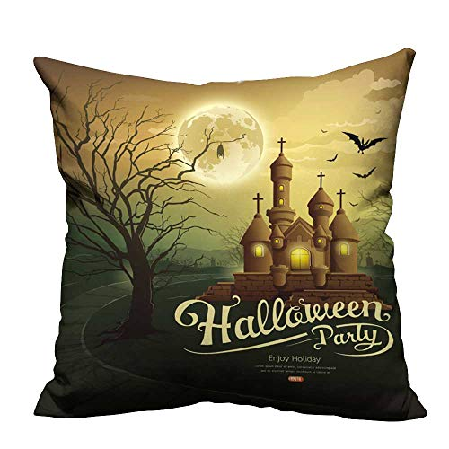 YouXianHome Decorative Throw Pillow Case Happy Halloween Party Castles with Message,bat,Silhouette Tree,Moon Ideal Decoration(Double-Sided Printing) 21.5x21.5 inch -