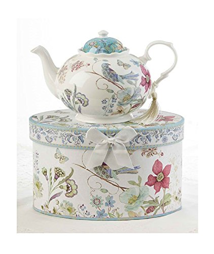 Delton Products Partridge 9.5 inches x 5.6 inches Porcelain Tea Pot in Gift Box - Delton Teapot