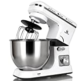 MURENKING Stand Mixer MK36 500W 6-Speed 5-Quart Stainless Steel Bowl, Tilt-Head Kitchen Electric Food Mixer with Dough Hooks, Whisk, Beater, Pouring Shield (White)