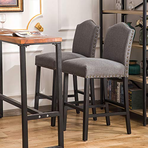 YEEFY Fabric Counter Height Stools with Solid Wood Legs and Nailed Trim 30