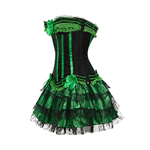 Kranchungel Women's Burlesque Stripe Overbust Corset Bustier with Tutu SKirt Outfit Verde