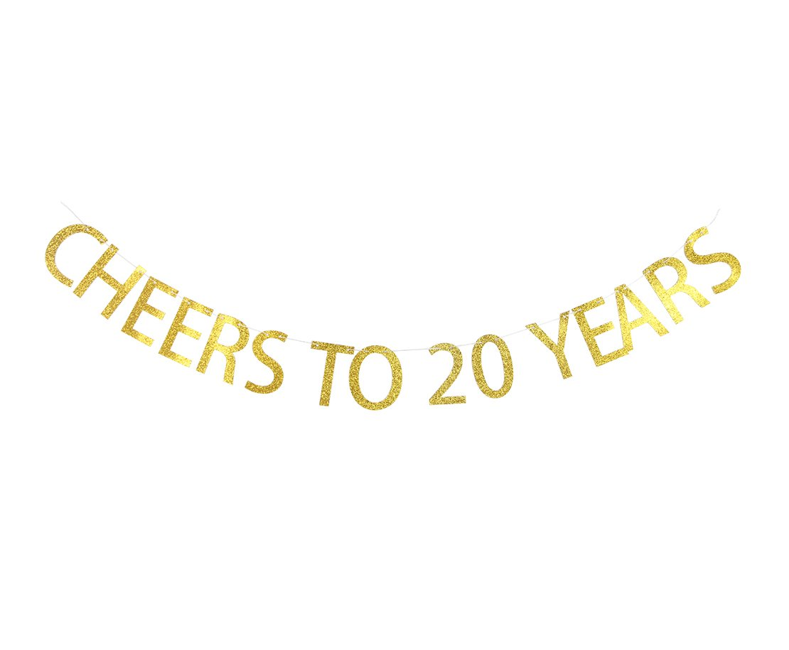 Lovely BITON Gold Cheers to 20 Years Banner Decoration Kit Themed Party Banner for Birthday Wedding Showers Photo Props Window Decor