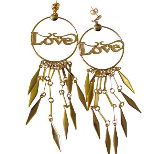 14k Gold Overlay Chandelier Earring Large Hoop with Word Love Dangle ()