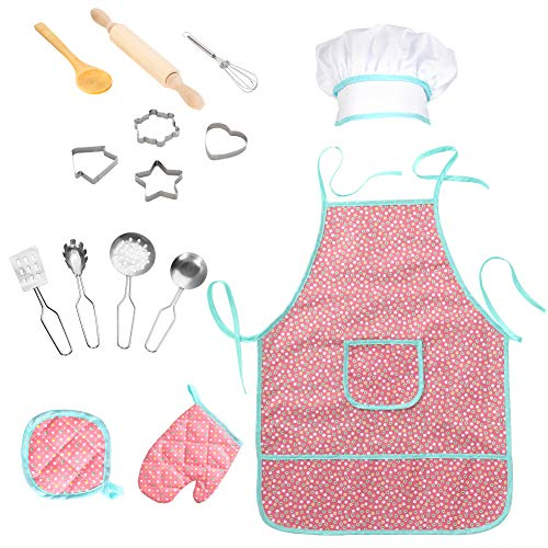 FunsLane Waterproof Apron 15Pcs Chef Set for Kids with Chef Hat and Other Accessories, Cooking Costume Play Set for Toddler Career Role Play Pretend Play Gift, Kitchen, Art Painting, Classroom ()