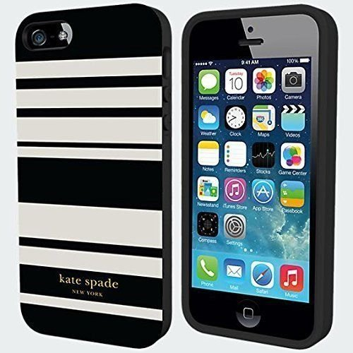 Kate Spade New York Flexible Hardshell Phone Case - iPhone 5/5S - Black/White Fairmont Stripes