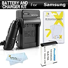 Battery And Charger Kit For Samsung WB750, WB150F, EX2, EX2F, WB350F, WB1100F, WB2100, WB800F WB250F Digital Camera Includes Extended Replacement (1000Mah) SLB-10A Battery + Ac/Dc Rapid Charger + More