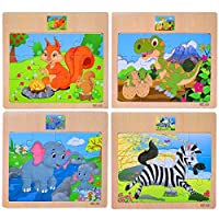 Set of 4 Wood Jigsaw Puzzles for Girls Boys for 3-6 Years 12 Piece Colorful Wooden Educational Transport Vehicles Jigsaw Puzzles. Includes Train, Tractor, Car and Ship