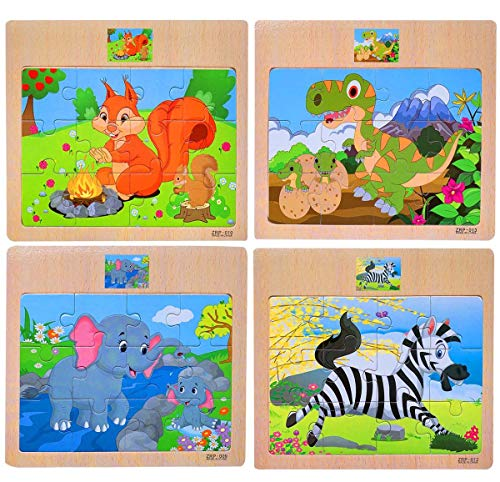 CCLIFE Wooden Jigsaw Puzzles Set for Kids 3-6 Years 12 Piece Colorful Wooden Educational Animal(4 Puzzles) (12 Piece Wooden Puzzle)