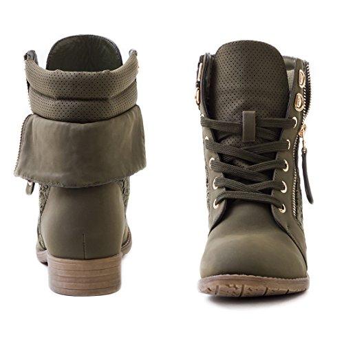 Stylische Damen Stiefeletten Worker Boots Spitze in hochwertiger Lederoptik Grün SB