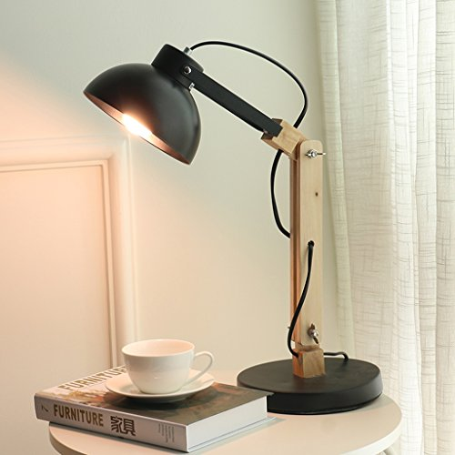 Great St. 5W LED Eye Protection Reading Light Study Room Children Learning Table Lamp Bedside Lamp Solid Wood Desk Lamp FGD (Color : BLACK) by Great St. (Image #2)