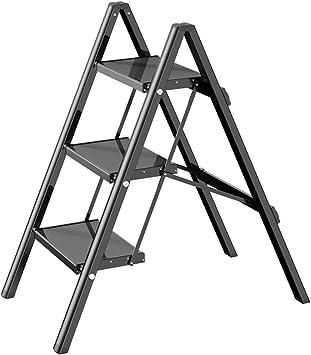 M-Y-S Escalera de tijera de 3 peldaños Escalera de peldaño plegable ligera con escalera antideslizante Escalera de aleación de aluminio con pedal ancho y ancho Soporte de mini flor: Amazon.es: Bricolaje y