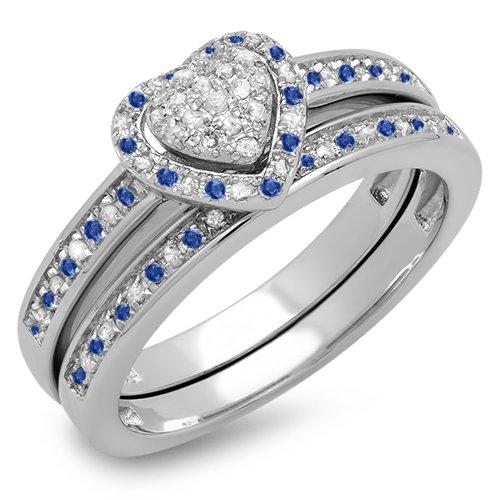 Diamond & Sapphire Heart Ring - 4