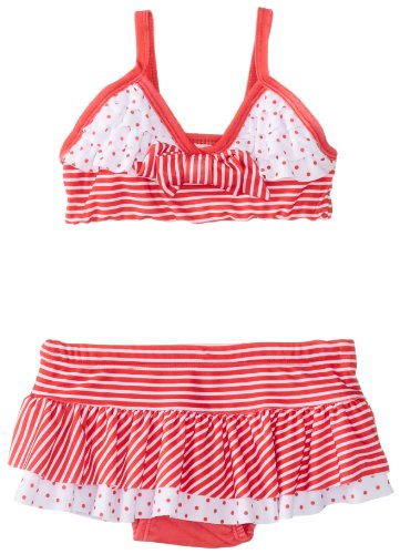 Nannette Baby Girls' 2 Piece Stripe Swimsuit, Chinese Red, 12 Months