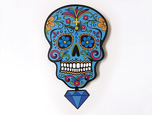 Blue Sugar Skull - Day of the Dead -Dia de Los Muertos - Calavera - Pendulum Wall Clock
