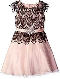 Big Girls' Lace Dress With Brooch Trim