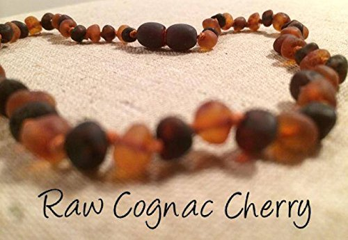 Baltic Amber Teething Necklace for Babies Baby Infant Toddlers Drooling Teething Pain Jewelry Certified Authentic Twist-in Screw Clasp. (Raw Cognac Cherry) (Baltic Cherry)