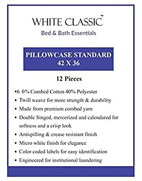 Elegant Double Stitched Tailoring Reduces Allergies and Respiratory Irritation White Cotton Standard Pillowcases Set of 2-200TC Heavy Weight Quality