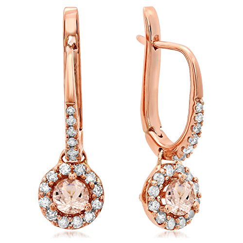 14K Rose Gold Round Morganite & White Diamond Ladies Halo Style Dangling Drop Earrings by DazzlingRock Collection