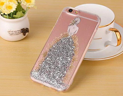 Iphone 6 plus/6s plus Bling Case,Jesiya Fashion Floral Real Pressed Flowers Sparkle Powder Flash Card Girl In White Epoxy Wedding Dress Soft TPU Glitter Case Cover For Iphone 6 plus/6s plus 5.5
