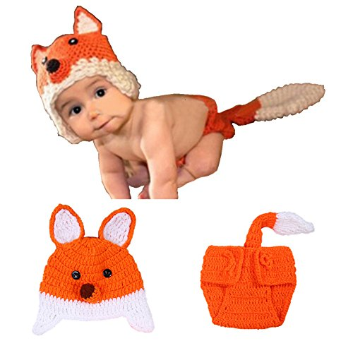 Sunbaby Newborn Photography Props Baby Knitting Wool Material Photography Costume Cute Animal Style Baby Crochet Clothes (Orange Fox) -