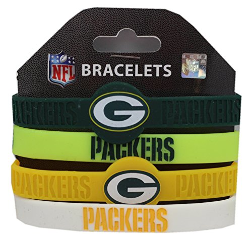 NFL Green Bay Packers Silicone Rubber Wrist Band Bracelet , One Size, Multicolor