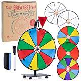 """GLWare 12"""" 5-in-1 Tabletop Prize Wheel - Smooth Spinning Dry Erase Wheel for Game Prizes with 5 Color & White Wheels, Marker Pen & Eraser - Win Fortune Carnival Raffle Games"""