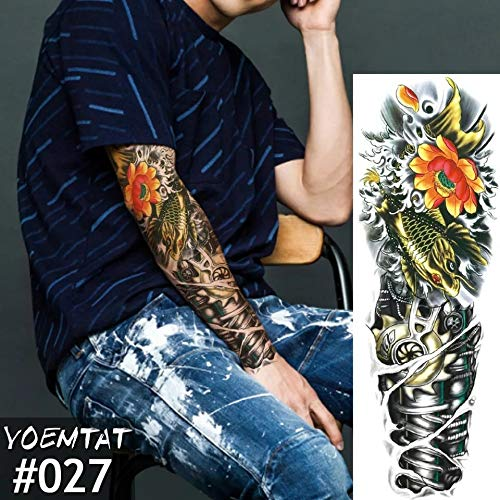 Tribal Island Terminator Machine Man Transformers Fake Tattoo Cover up Stretch Mark Cover up Body Make up Hawiian Samoan Butterfly KOI Fish Temporary Tattoo Scar Cover up 3D Body Stickers USO Tatau ()