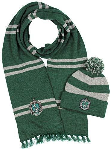 Harry Potter Hogwarts Houses Knit Slytherin Scarf & Pom Beanie Set (Slytherin)]()